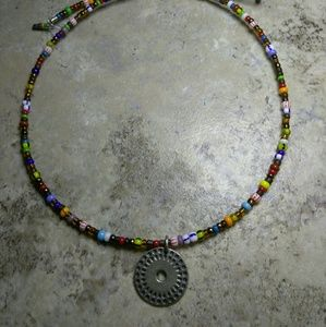 Jewelry - Wire Beaded Choker With 925 Pendant